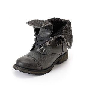Roxy Ember Gray Black Moto Combat Boots Size 7.5